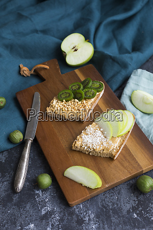 bread slices with various toppings on