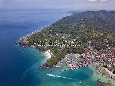 indonesia bali aerial view of padangbai