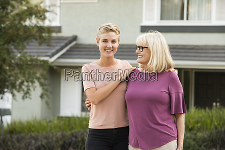 portrait of smiling woman with mother