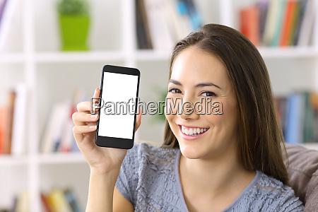 lady showing blank smart phone screen