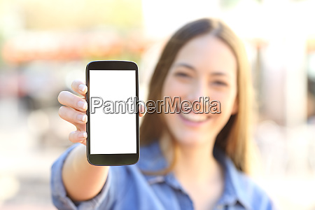 girl showing a blank smart phone