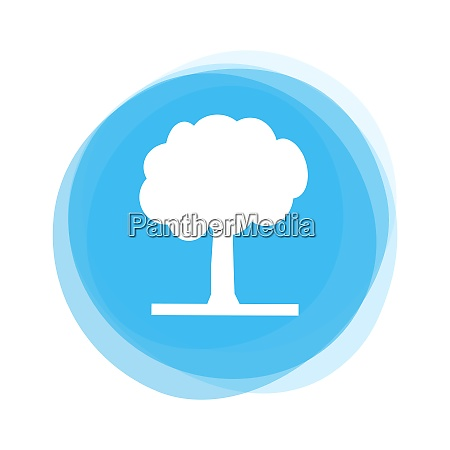 isolated light blue round button tree