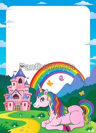 unicornio cerca del tema del castillo