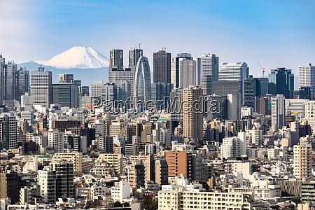 skyline de tokio y montanya fuji