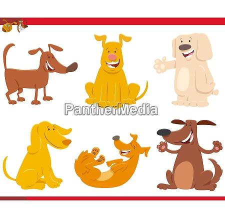 divertidos perros o cachorros personajes de