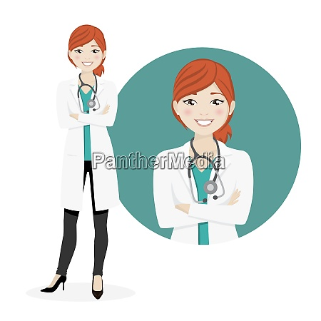 redhead woman doctor on a white