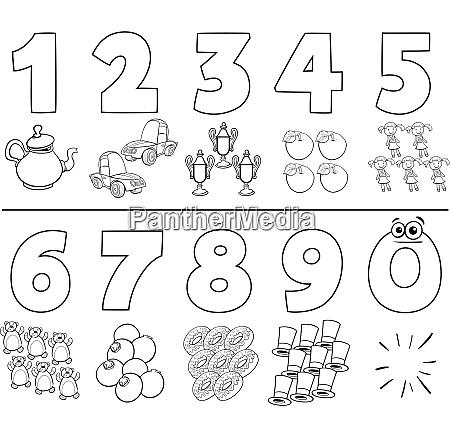 Números De Dibujos Animados Establecer Libro Para Stockphoto