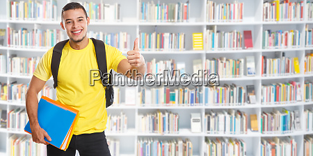 student young man success successful library