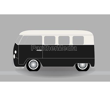 dibujos animados alegre minibus que viaja
