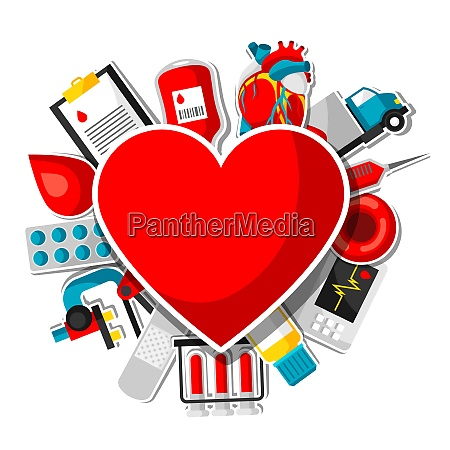 background with blood donation items medical