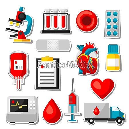set of blood donation items medical