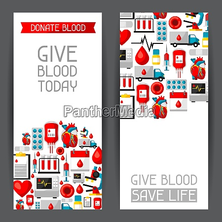 banners with blood donation items medical