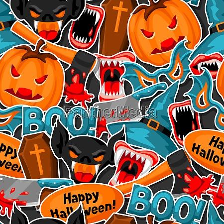 happy halloween seamless pattern with cartoon