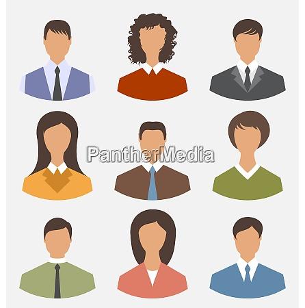 illustration avatar set front portrait office