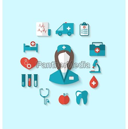 illustration set modern flat icons of