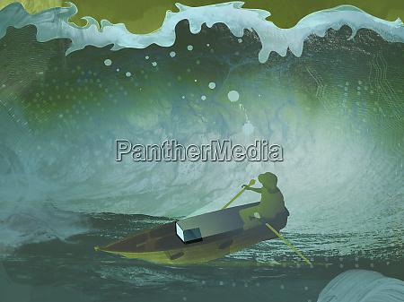 digital wave engulfing man using laptop