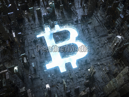 blue sky bitcoin symbol shining in