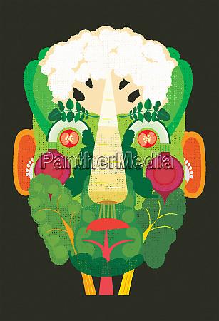 cara formada a partir de verduras