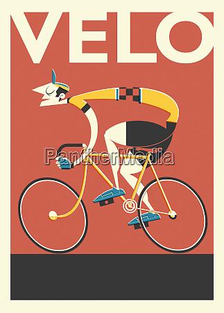 poster retro del ciclista frances