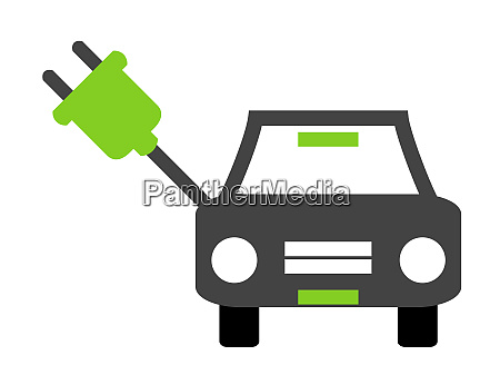 icono del coche electrico con enchufe