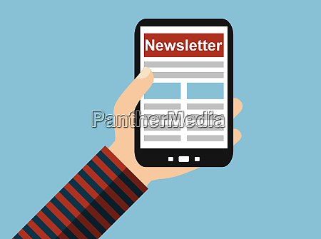hand with mobile phone newsletter