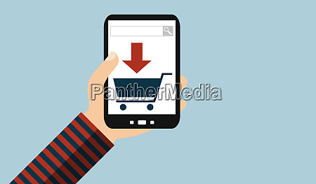 hand with mobile phone search and