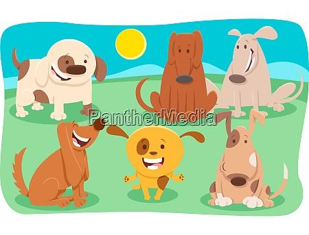 divertidos perros personajes de dibujos animados