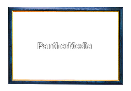 blue wooden picture frame on white
