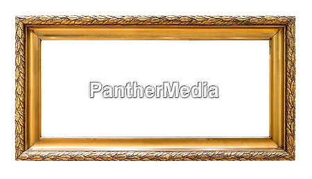 rectangular golden decorative picture frame isolated
