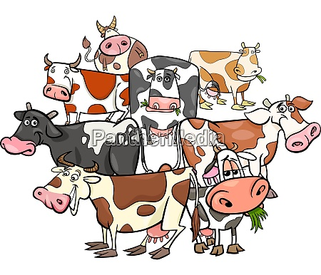 funny cows cartoon farm animals group