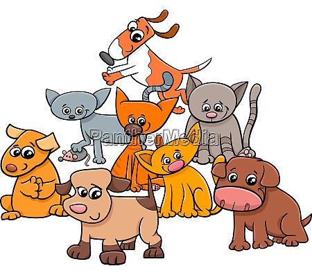 gatito y cachorros grupo ilustracion de