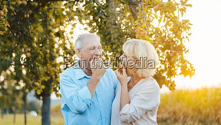 senior woman and man enjoying an