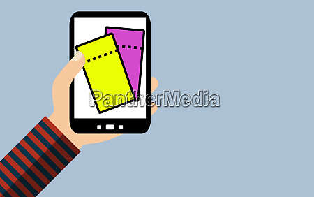 smartphone two tickets yellow and purple