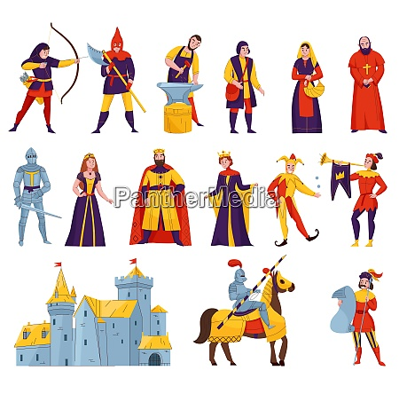 medieval tales characters flat set with