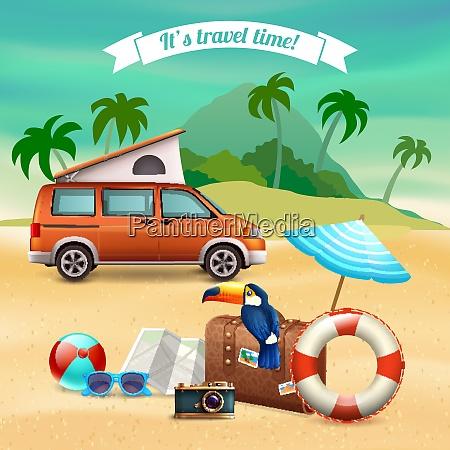 verano realista vacaciones cartel con autobus