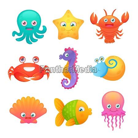 lindas criaturas de vida marina animales