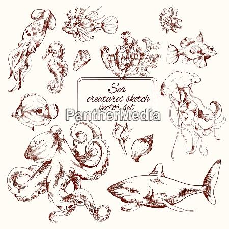 las criaturas marinas esbozan iconos decorativos