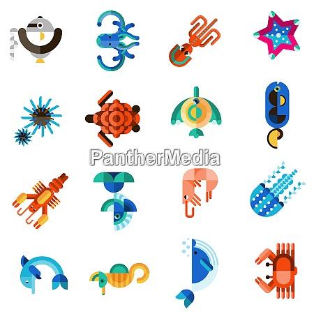 criaturas marinas vida animal submarina ambientada