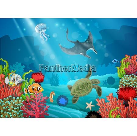 paisaje de dibujos animados submarinos con