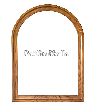 rounded wooden picture frame on white