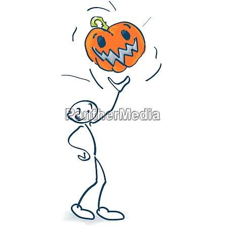 stick figure throws a big orange