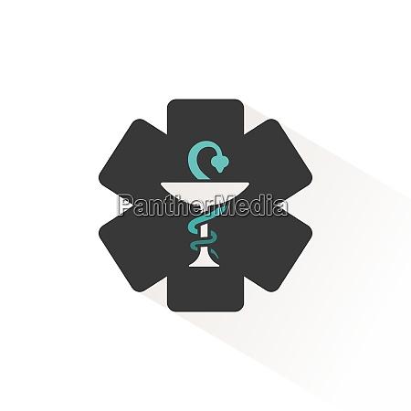 pharmacy symbol flat icon with beige