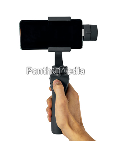 phone gimbal stabilizer in hand isolated