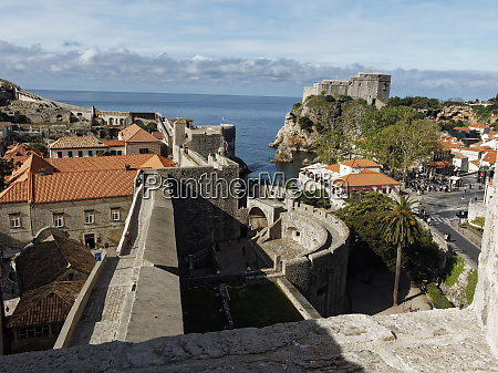 view along the wall of the