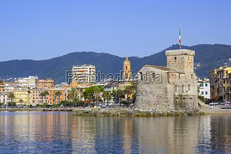 italian castles on sea italian flag