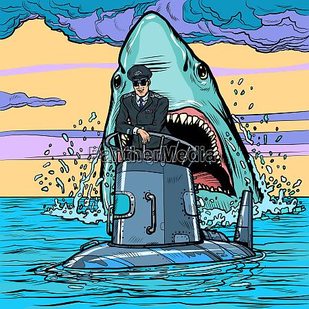 capitán, del, submarino., ataque, de, tiburón - 27382978