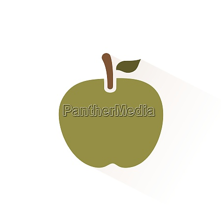 green apple icon with shadow flat