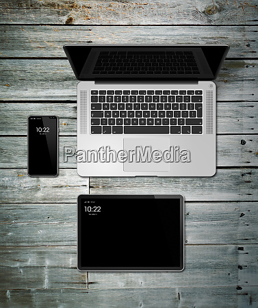 laptop tablet and phone set mockup