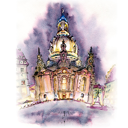 frauenkirche at night in dresden germany