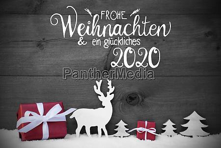 reindeer gift tree snow glueckliches 2020